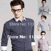 2014 New Stylish Striped Men Shirts Turn-down Collar Patchwork Men's Shirt Business Man Dress Shirt XXL