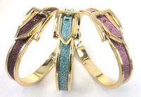 Free shipping gold plated glitter powder adjustable alloy belt buckle bracelet bangle women dress cuff bangle