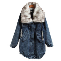 Fashion 2013 Winter Womens Thickening Denim Jackets. Huge Faux Fur Collar Medium-long Drawstring Cotton-padded Jean Coat Outwear