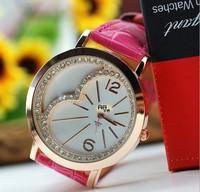 Free ship 6PC Love Heart Diamond Charm Candy Girl Lady Student Xmas Gift Quartz genuine leather Wrist Watch Drop shipping 63928