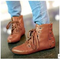 Botas Femininas New 2014 Flats Ankle Boots  Brand Autumn Short Boots  Rivet Women Martin Motorcycle Boots ILXZ1037