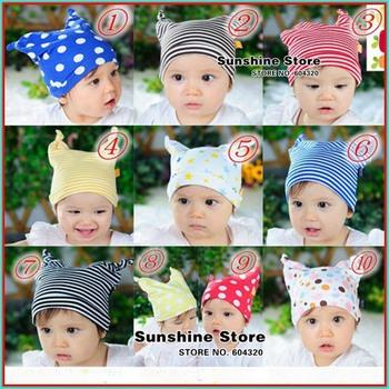 Stripe&Polka dots baby hat toddler boy/girl &star ears cap beanies baby winter newborn fotografia #2C2711 10 pcs/lot(10 colors)