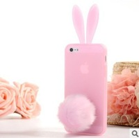 Newest Cute Rabbit ear Phone Soft Shell stand phone shell for 4 4S iphone5 Ultra-thin TPU Phone protective sleeve free shipping