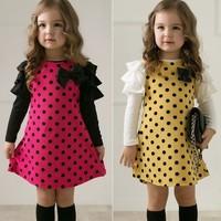 NEW Casual Korean Style Girls Polka DOT Princess Long Sleeve Dress 2 7Y Clothes free shipping