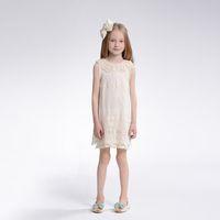 christmas hot sale 2014 children's formal dress Kids Summer girls chiffon lace pearl collar sleeveless princess birthday dress