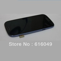 High quality For Samsung Galaxy S3 i9300 LCD Display + Digitizer Touch Screen Glass+Frame Assembly ,Blue color Free shipping