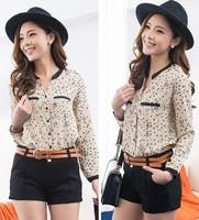 New 2013 Women Chiffon Sexy Leopard Print Summer long sleeve Shirt Top Button Down Blouse S/M/L plus size