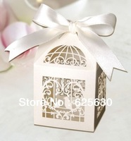 Free Shipping 60PCS Laser Cut Birdcage Wedding Favor Box in Pearlescent Paper Ivory with Ivory Ribbon