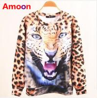 Amoon / Women Girl 2014 New Autumn Fashion Top Grade Leopard Lips Owl Print Hoodies /3 Size