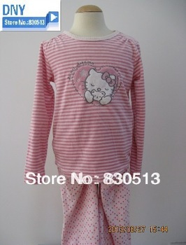 Free shipping new arrival hello kitty 2013 autumn girl clothing pajama set   stripe  sleepwears nightgowns with  embroidery