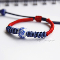 Ceramic Bracelet Jingdezhen Jewelry Wholesale, Handmade Braided Rope, Blue And White Porcelain Beads