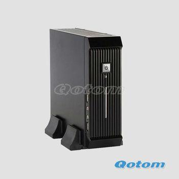 "black mini itx pc case QOTOM-C09C with 12V 5A power supply,mini pc case support 2.5"" SATA HDD"