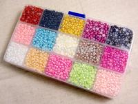 Free shipping 9000pcs Mixed 15Color Half Pearl Bead 4mm Flat Back Gem Scrapbook Craft /DIY nail art Compartment 005003002004
