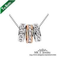 Newest Wholesale 2014 Korean Rhinestone Three Circle Pendants Necklace Romantic Gift Jewelry Free Shipping