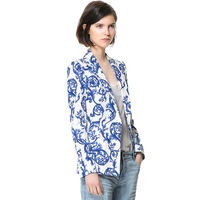 2014 Autumn  Blue and White Porcelain Chinese  Women's Ceramic Print Jacket One Button Blazer Outwear  Coats