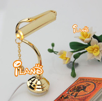 iland wholesale 1:12 Dollhouse Miniature Reading Lamp Golden  Electric Table Light Brass w/ 24K Plating Gold classic toys