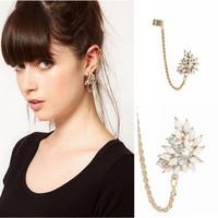 Free Shipping, 2013 New Fashion Punk Earcuff,  Crystal Flower Ear Cuff Earrings For Women, EJ042-[Gorgeous Store]