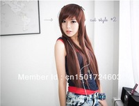 Free Shipping, Wig long straight fluffy cute student oblique bangs long straight hair wig non-mainstream fake hair girls