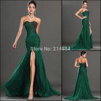Free Shipping New Hot Sale Sexy Mermaid Black Embroidery Dark Green Pleated Chiffon Mermaid Evening Dress 2015