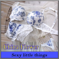 Underwear sets classic blue and white porcelain flower wholesale bra sets this new release stamp  D01039