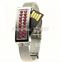 Wholesale and custom pendrives Crystal usb 2.0 jewelry usb flash drive 4G/8G/16G memory card wrist band