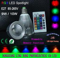 New type 1pcs/lot 16 Color Changing E27 9W 10W RGB LED Light Bulb Lamp spotlight 85V-265V & IR Remote Control free shipping