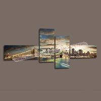 4 Piece Wall Art Decor Landscape Painting of Manhattan Brooklyn Bridge Canvas Picture for Modern Home -- Large Canvas Art Cheap