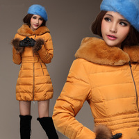 New brand genuine rex rabbit fur collar thick down jacket and long-paragraph slim fashion down coat