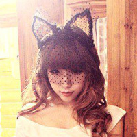 Free Shipping MOQ$18.00 Lady gaga lace cat ears veil lace mask cat ears hair clasp with veil Mask for Christmas/halloween