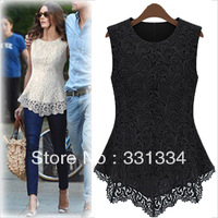 HOT! Celeb Style lady new Fashion women's 2013 plus size chiffon shirt quality t-shirt Women's lace ruffle laciness slim t-shirt