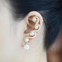 16K Genuine Gold Plated Ear Cuff Inlaid With CZ Rhinestone Earrings For Women New 2013 Free Shipping, SCN007