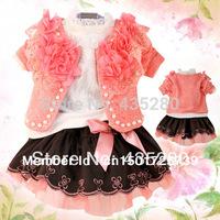 Free Shipping 2014 New arrival children's Autumn Clothing Sets cotton coat+T-shirt+pants baby kids 3 Pcs sets hot sale L130813-5