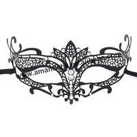 Mask- 032B Wholesale Luxury Black Metal Laser Cut With Rhinestone Princess Masquerade Mask pattern B