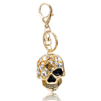 Free Shipping,new 2014 Awesome Hollow 18k Gold Skull Key Chain,crystal Skeleton Keychain,personalized Alloy Ring Novelty Items