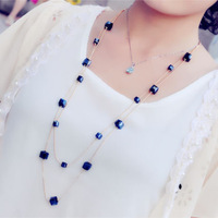 2015 fashion multi-color crystal beaded long necklace for woman Free shipping