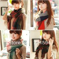 Free Shipping 2013 autumn and winter women's faux yarn scarf muffler cape dual long plaid scarf