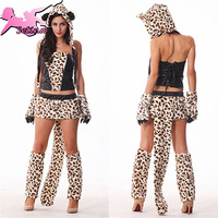 carnival costume Luxurious Leopard Tiger Sexy costume High Quality Fur&PU Patchwork Dress Fantasia Halloween cosplay MM002