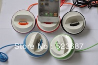 1pcs/lot HK Free Shipping Newest Colorful USB Sync to 30 PIN Cradle Desktop Dock Station Charger fit for iPhone 4 4S