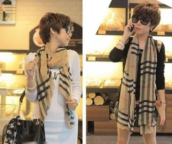 New Arrive Fashion stripe plaid scarf Female models the velvet chiffon scarf super long scarf Women Scraf  W4192