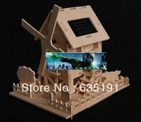 solar DIY wooden windmill /solar wooden house/solar promotion gift