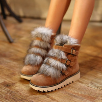 2013 new long fur sneakers for women snow winter shoes brand leather winter ankle boots free shipping