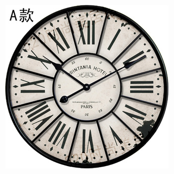 Vintage large wood wall clock 34cm & 60cm with wrought iron frame rustic craft for home antique roman number face Free shipping