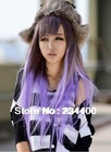 free shipping 2013 78cm long women japanese harajuku  colocasia purple  gradient anime wigs cos wigs(China (Mainland))