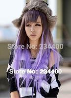 Free shipping 78cm long women purple gradient wig japanese harajuku anime cosplay wigs