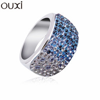 Fashion Blue RiA012 the Ring of Lord Top Austrian Crystal  Thick Rhodium Plated Free Shipping