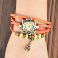 fashion Leather Hand Knit Vintage Watches,bracelet Wristwatches for Women with Eiffel Tower Pendant
