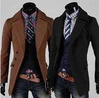 2014 New Winter jacket Men's Double-breasted Overcoat Single-breasted Coat Short Design Woolen Wind Coat Men Slim Outerwear