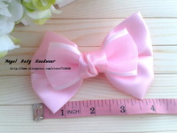 50pcs 8color Kid's Headwear 4.5inch Solid big Bowknot lace bowknot Handmade Hair Ribbon Hair Accessories