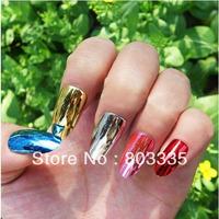 Free Shipping 100pcs Colorful Metallic False Fake Finger Nails Full Cover Mirror Shining DIY