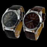 Top Selling 2PCS Synthetic Leather Big Dial Men's Luxury Fashion Quartz Wristwatch Watches 2 Colors